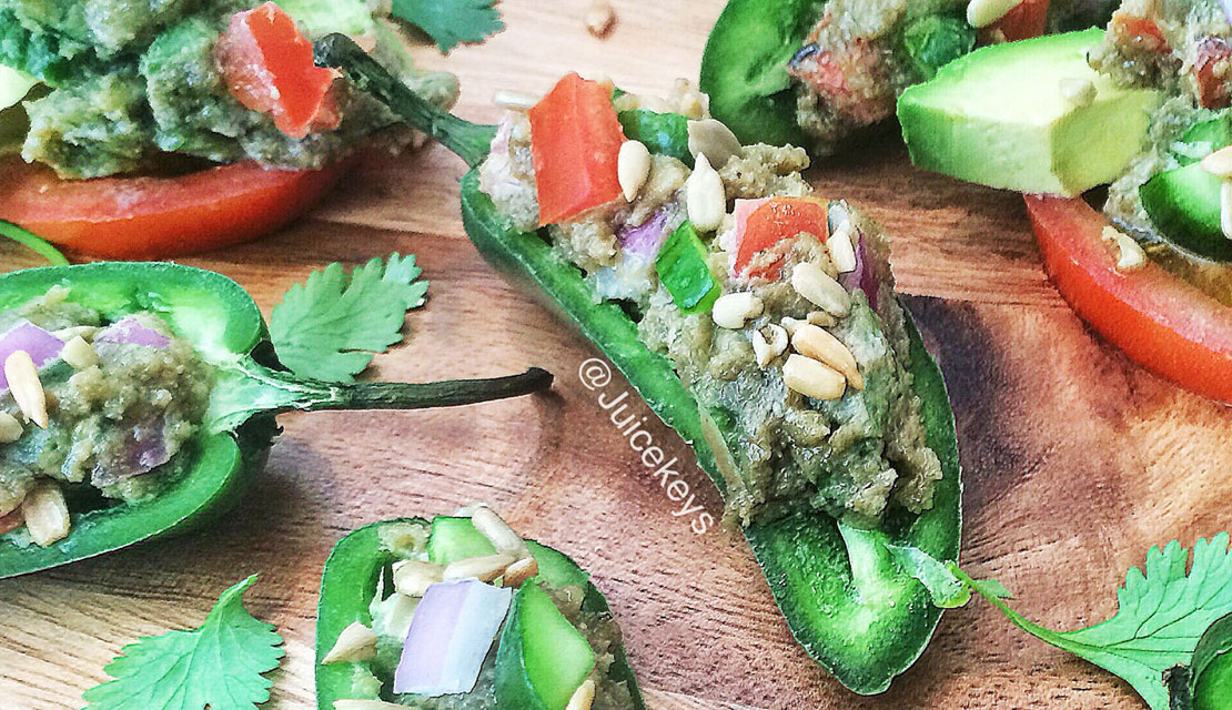 Raw Vegan Cheesy Stuffed Jalapeños
