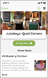 Screen shot of the all-new Juicekeys App for online juice ordering